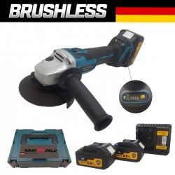 Немски Безчетков Ъглошлайф акумулаторен KraftWorld 24V + 2 Батерии 6Ah и Зарядно с Куфар